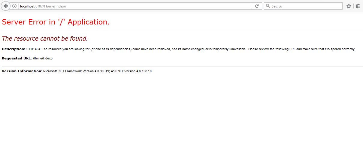 خطای 404 - Asp.Net MVC