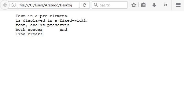 نتیجه کد - تگ pre