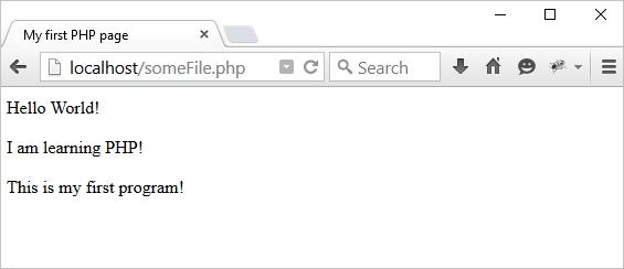 خروجی دستور php در مرورگر