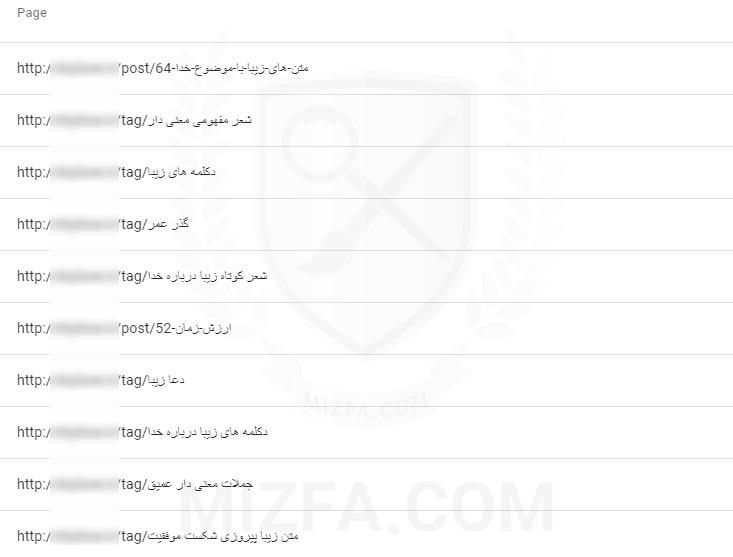 نمایی از آدرس های فارسی در سرچ کنسول نسخه جدید