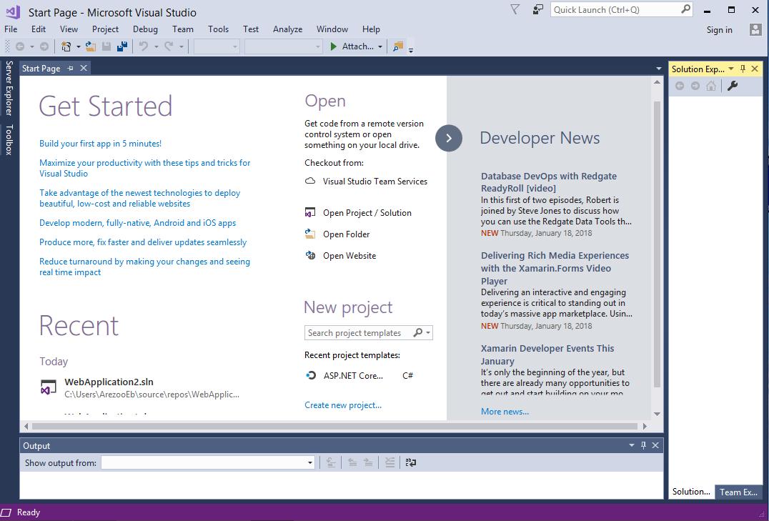ساخت پروژه ASP.NET Core در ویژوال استودیو 2017