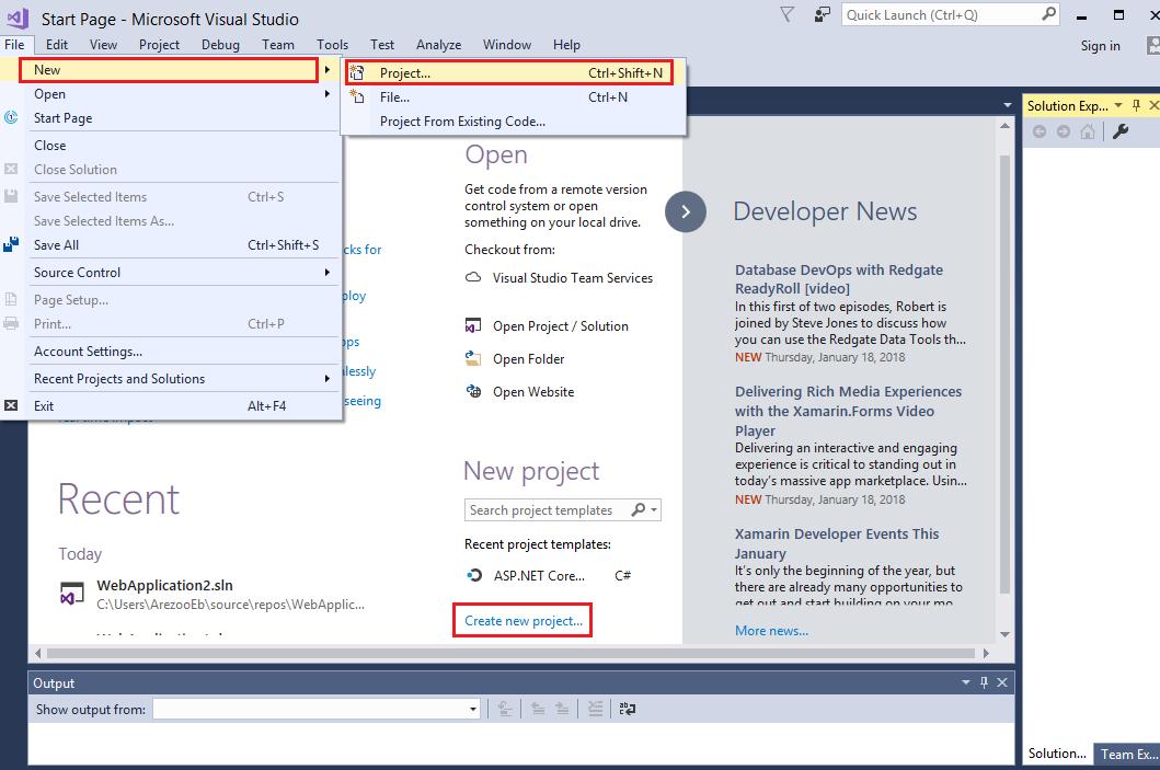 ایجاد نخستین پروژه ASP.NET Core 2.0