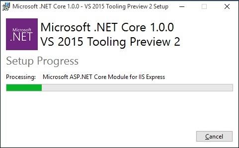 فرآیند نصب NET Core.