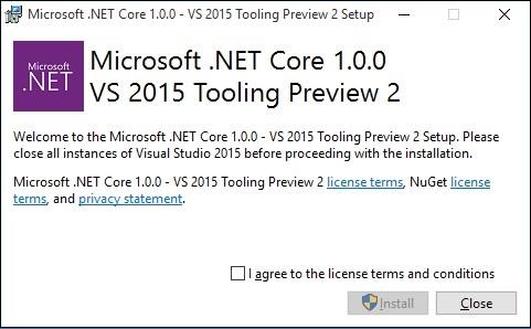 نصب NET Core.