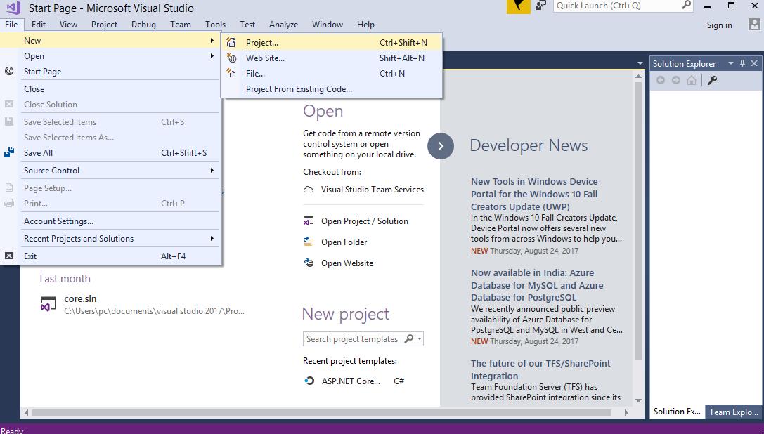 ایجاد پروژه ASP.NET Core MVC