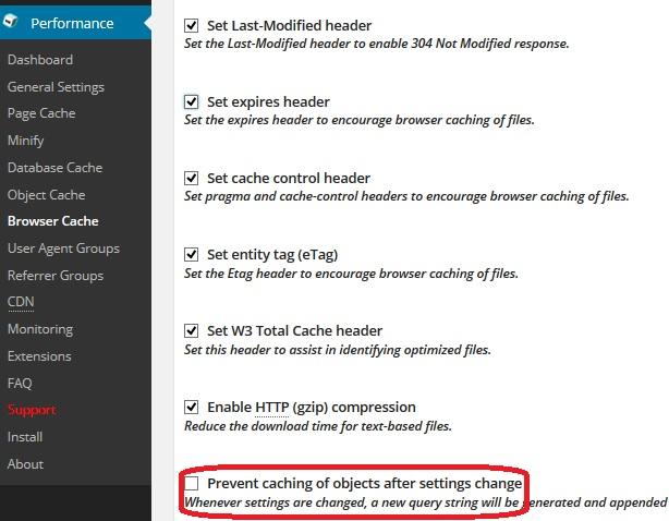 رفع خطای query strings در افزونه W3 total cashe