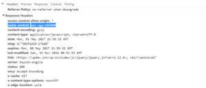 نمونهای از cache contro header