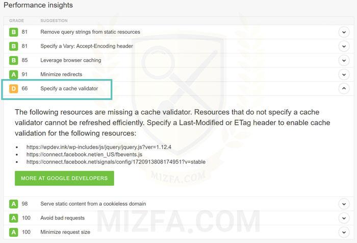 خطای specify a cache validator در PageSpeed گوگل