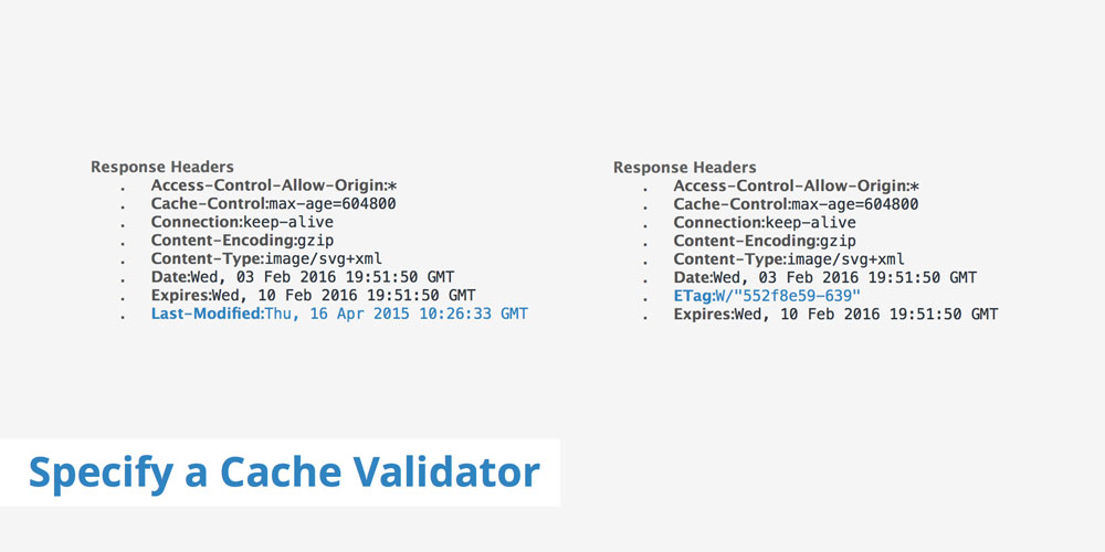 specify a cache validator