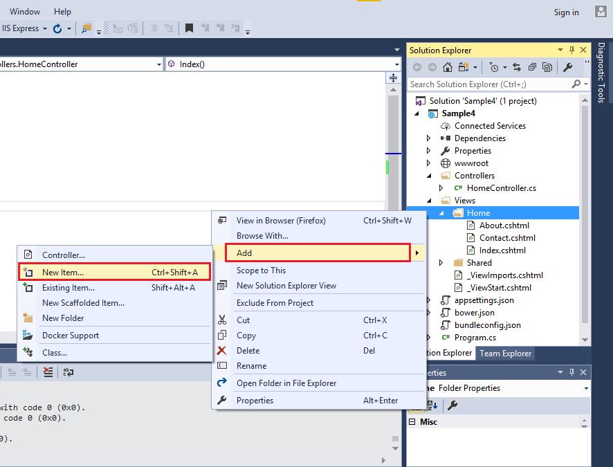 افزودن View به پروژه ASP.NET Core MVC