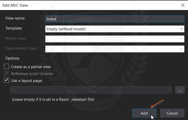 اضافه کردن ویو به پروژه ASP.NET Core