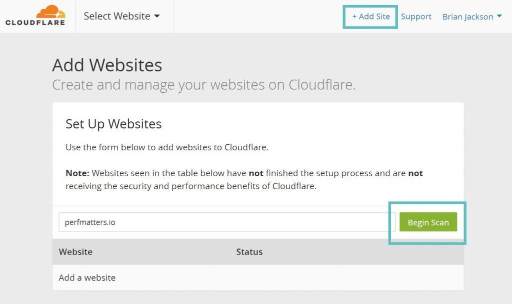 اضافه کردن سایت در CloudFlare
