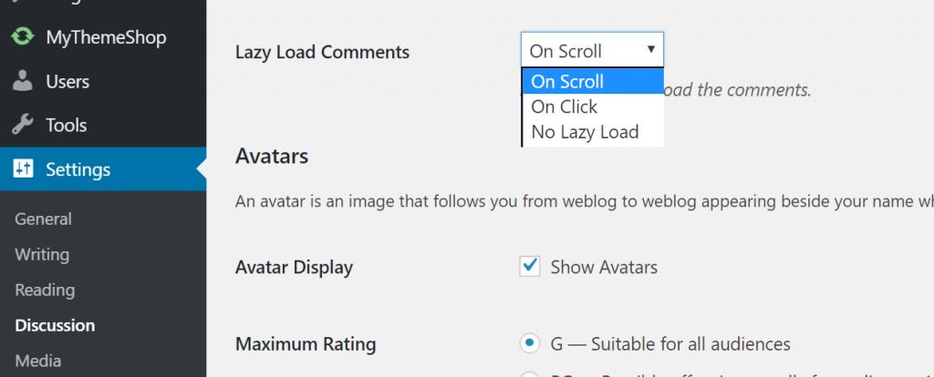 تنظیمات افزونه Lazy Load