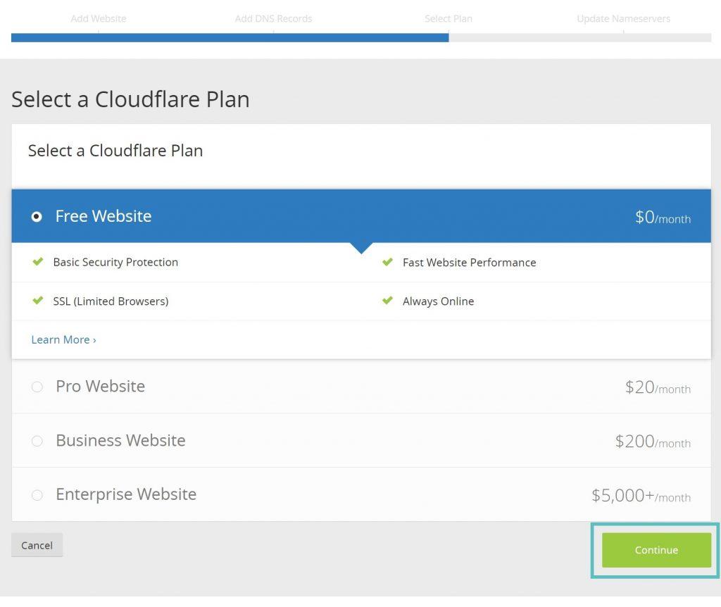 انتخاب پنل در CloudFlare