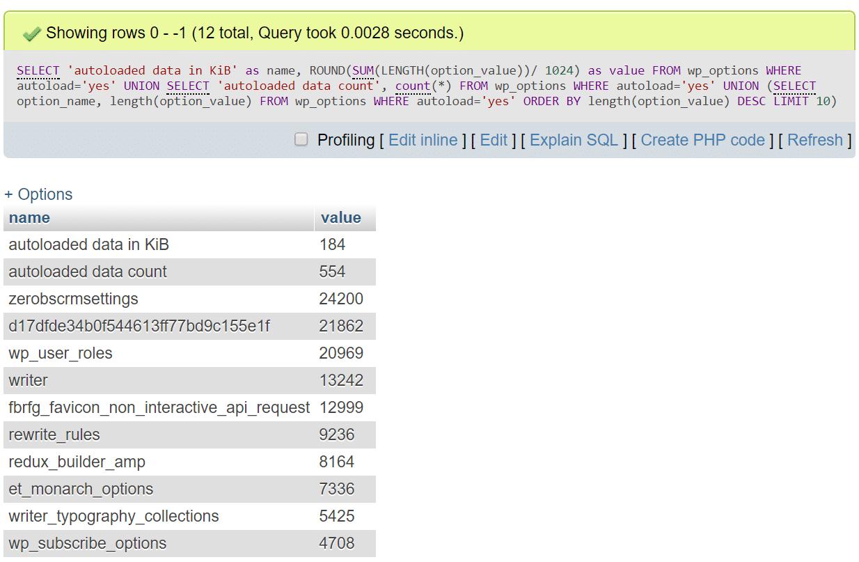 نمونه ای از چند دستور در رابطه با autoload_size
