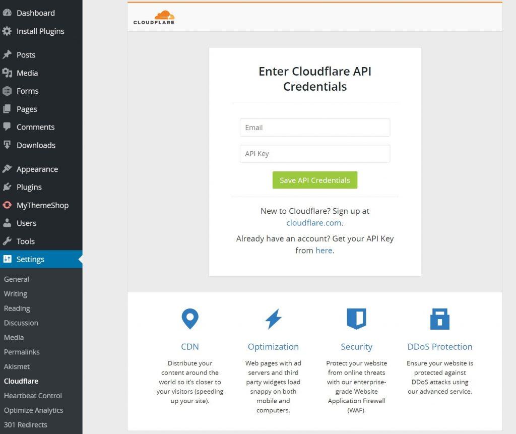 تنظیم API در افزونه کلودفلر در وردپرس