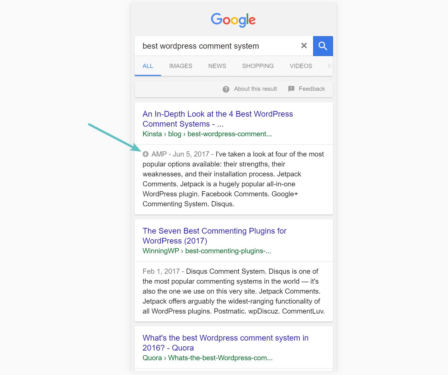 نمونه نمایش AMP در گوگل
