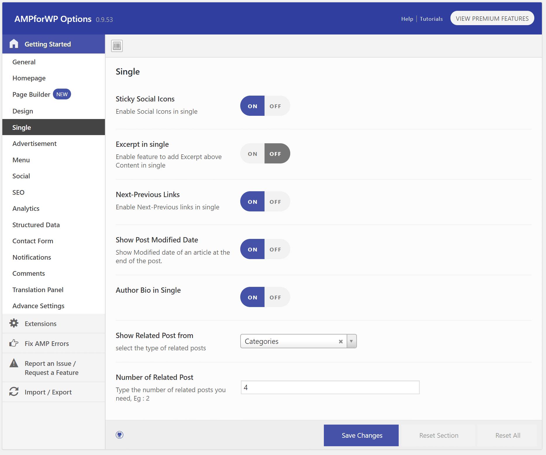 بخش Single افزونه AMP for WP