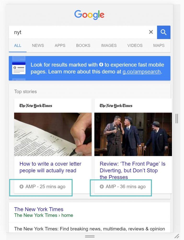 اسلاید اخبار NewYorkTimes مربوط به AMP گوگل