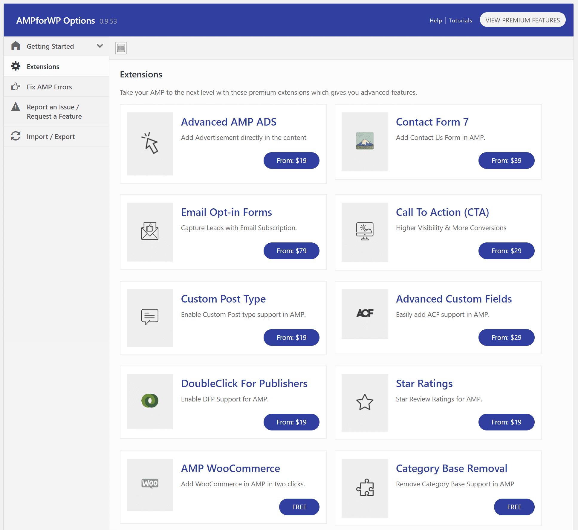 بخش Extensions افزونه AMP for WP