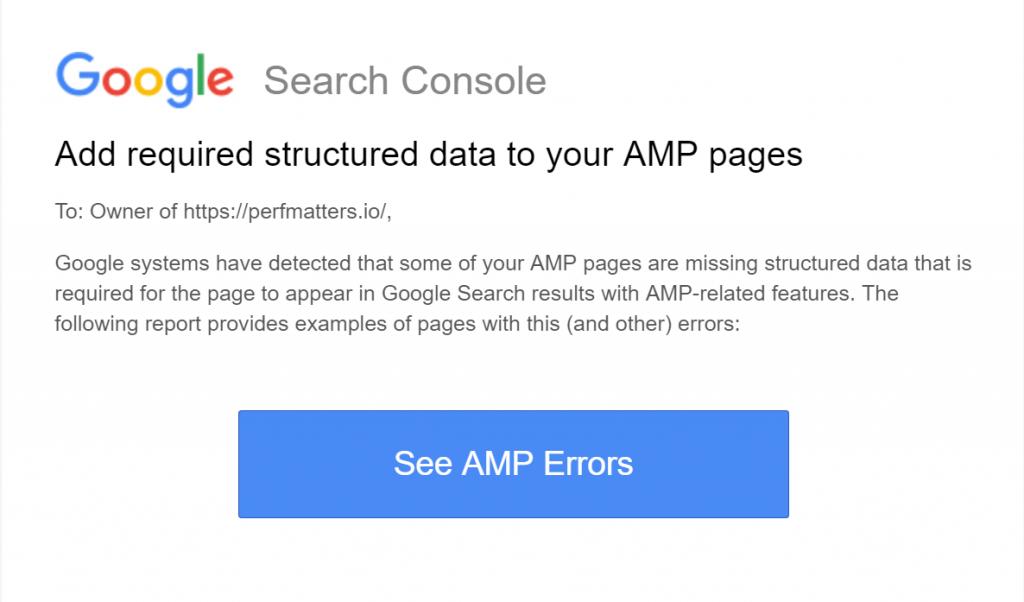 AMP errors – GSC