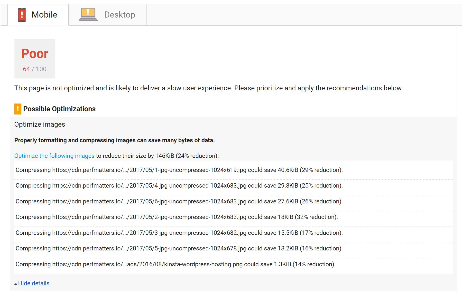 خطای بهینه سازی تصاویر در PageSpeed Insights