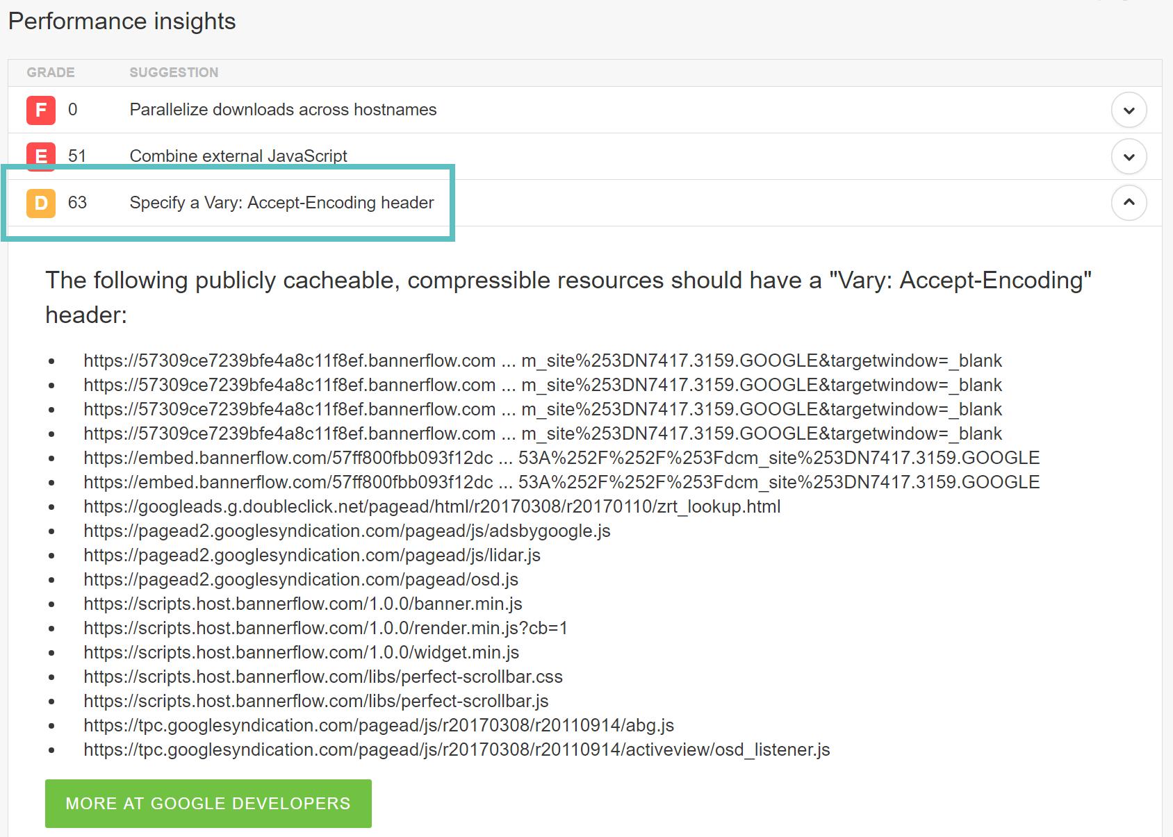 هشدار Specify a Vary: Accept-Encoding header