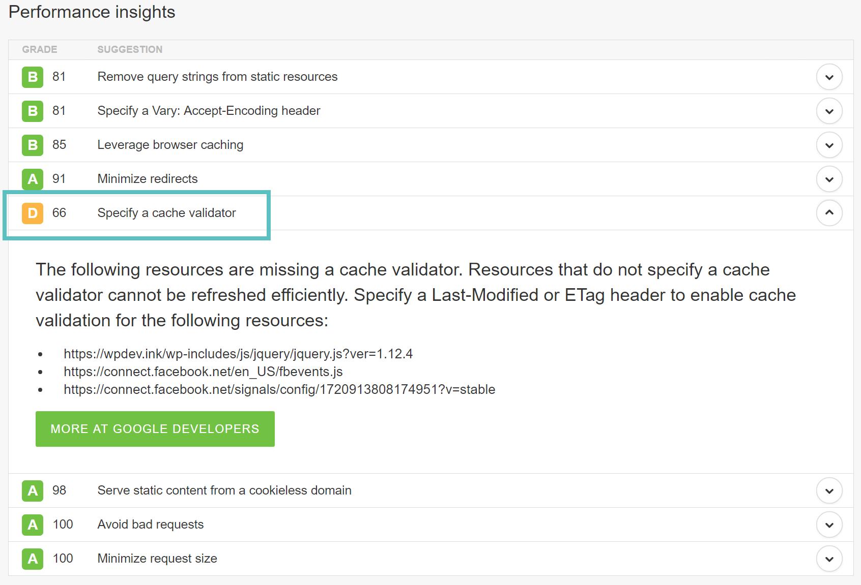 مشکل Specify a cache validator