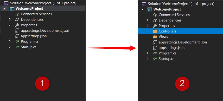 اضافه کردن پوشه های Views و Controllers به Solution Explorer