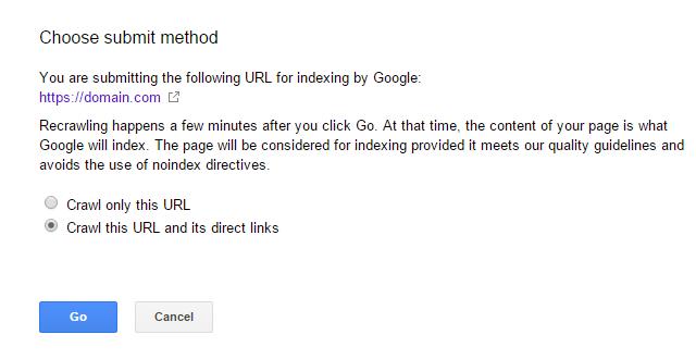 گزینه Crawl this URL and its direct links