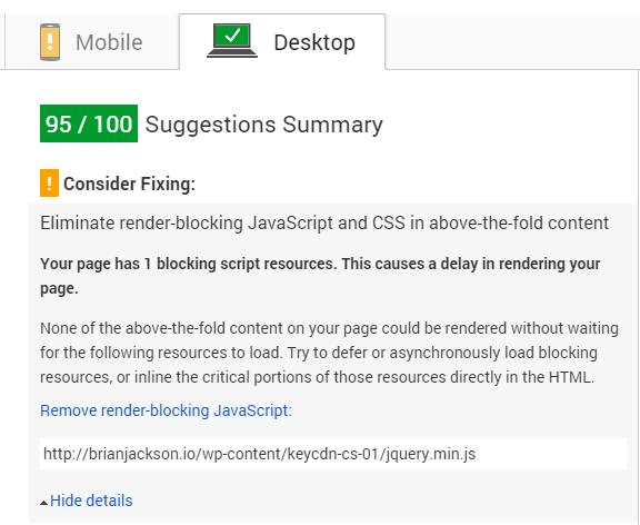 گوگل PageSpeed Insight پس از بهینه سازی CSS