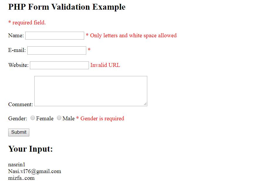اعتبارسنجی ایمیل و URL در PHP
