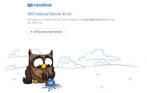 خطای 500 سایت readme که کاستومایز کرده