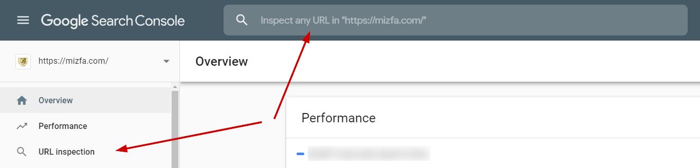 انتخاب ابزار url inspection در سرچ کنسول