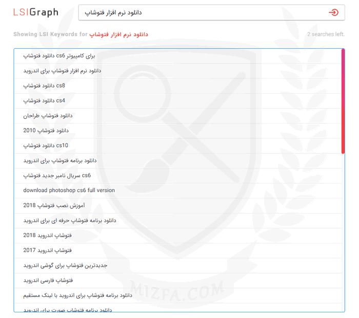 سایت LSIGraph برای پیدا کردن LSI کلمات دانلود نرم افزار فتوشاپ