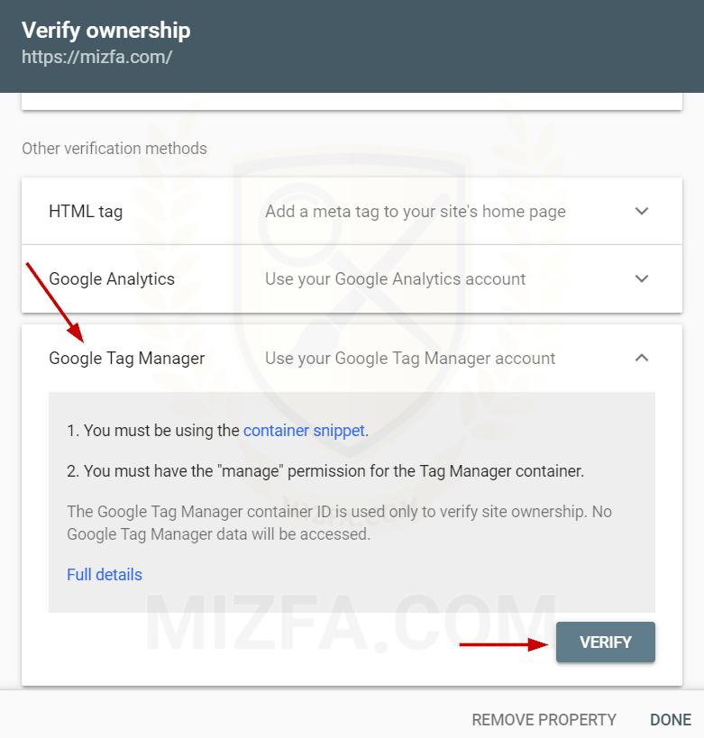 اضافه کردن سایت با GTM در سرچ کنسول گوگل