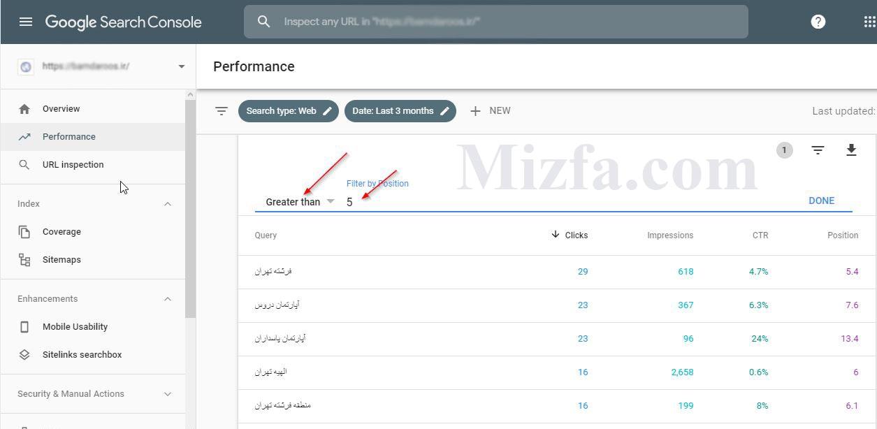 درج مقدار بزرگ تر از ۵ در فیلتر گزارش performance
