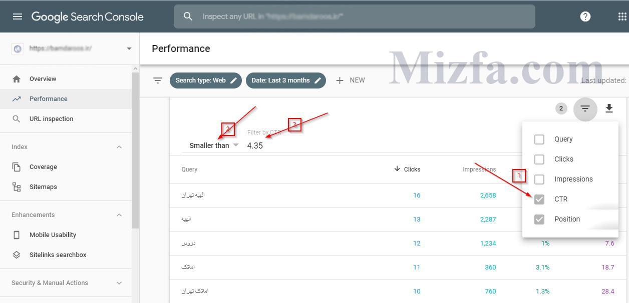انتخاب فیلتر نرخ کلیک و مقدار دهی آن گزارش performance