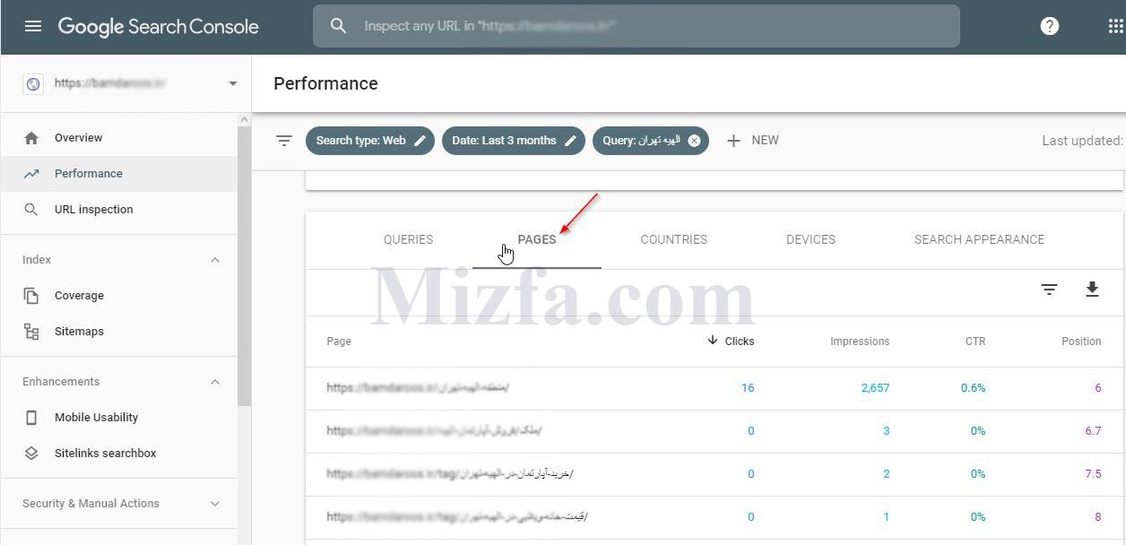 انتخاب سربرگ Pages بعد از اعمال فیلترها در گزارش Performance