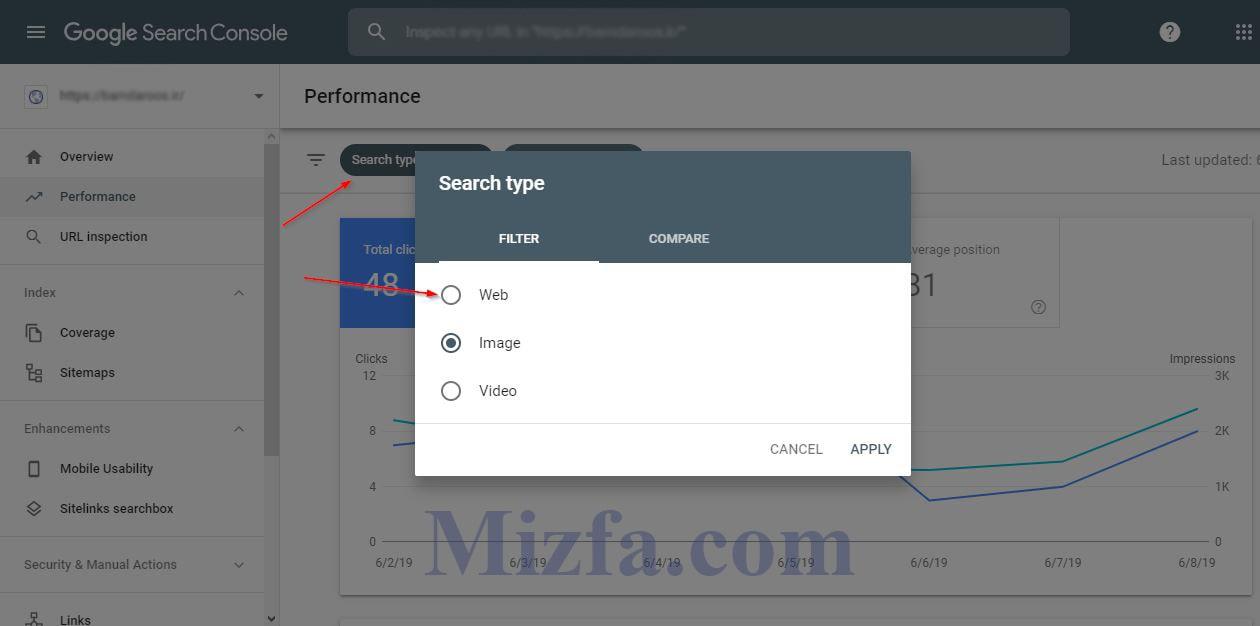 Search Type (نوع سرچ) در گزارش Performance