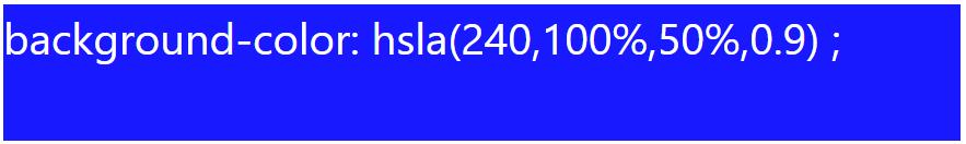 رنگ آبی با alpha برابر ۰.۹ با hsla
