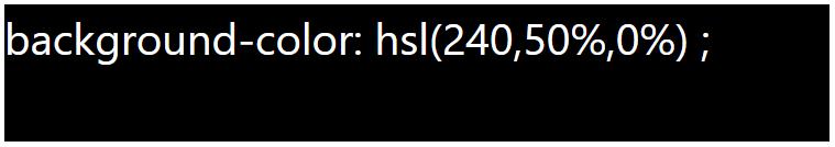 کد رنگ مشکی با استفاده از HSL