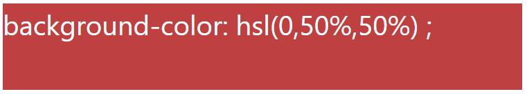 کد رنگ قرمز با استفاده از HSL