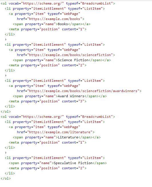 نمونه کدهای مربوط به breadcrumbs