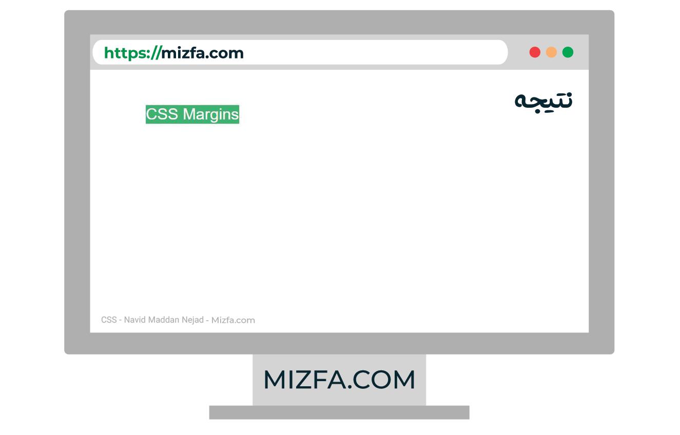 نتیجه مثال CSS Margin