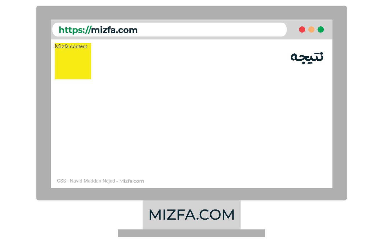 نمونه استفاده از طول و عرض در CSS