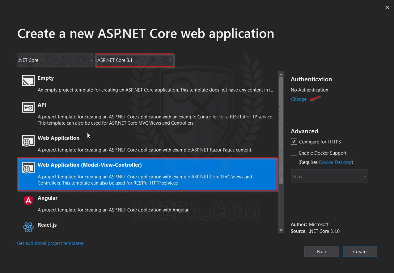 الگوهای پروژه ASP.NET Core در ویژوال استدیو 2019