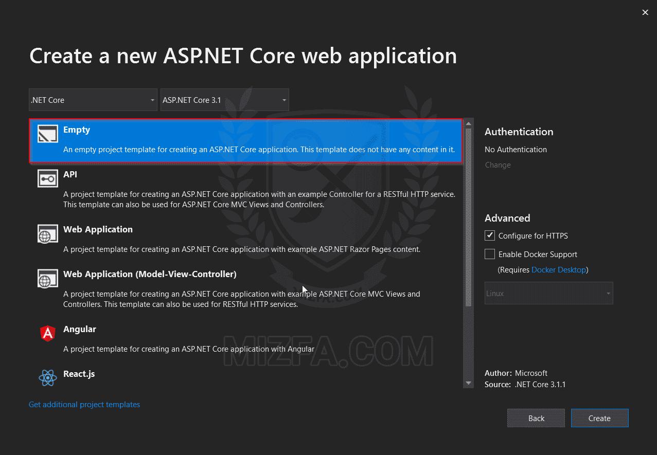 ایجاد پروژه ASP.NET Core بر اساس الگوی Empty