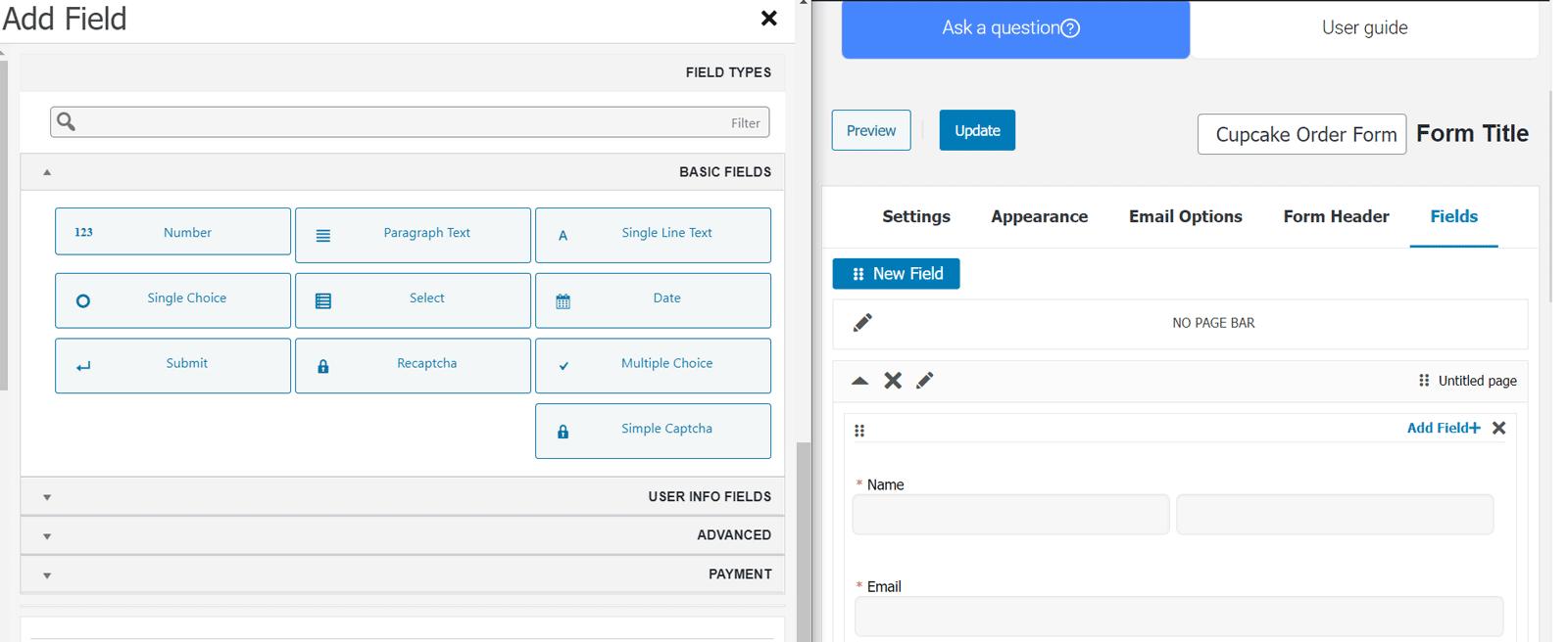 محیط افزونه Form Maker 10Web