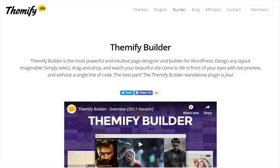 صفحه ساز themify builder